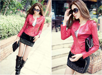 Women Waist_Length Leather 2013 HOT New Style Sexy Women's Ladies Unique badges design motorcycle PU leather Jacket Coat Outerwear leather Clothing