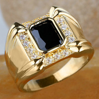 Wholesale Men claw Black Onyx K Gold Filled Ring R128 GFLM Size J8178 fashion jewelry