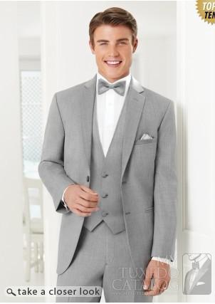 Custom Design Light Grey Groom Tuxedos Notch Lapel Best Man ...