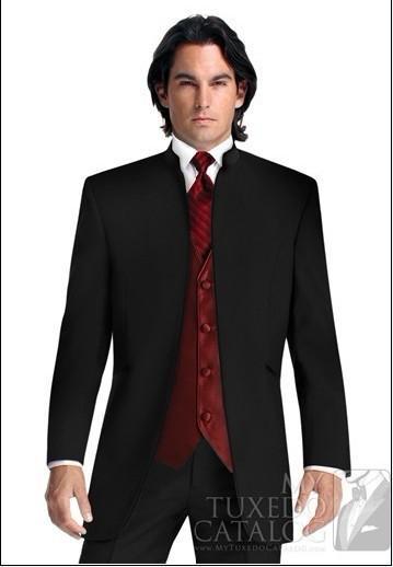 Black Suit Burgundy Vest Groom Tuxedos Mandarin Lapel Best Man ...