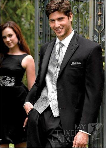 Black Suit Light Grey Vest Groom Tuxedos Peak Lapel Best Man ...