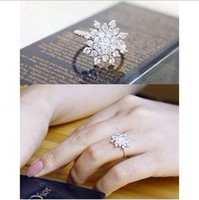 Alloy South American Women's Shiny Cubic Zirconia Engagement Rings CZ Flower Finger Ring Valentine's Day Gift MS-68