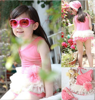 Girl Two-piece 12-18 Months 2013 New Korean children's one-piece skirt swimsuit girls pink lace tutu one-piece bathing suit + swimming cap Siamese swimwear,AP248