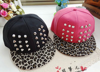 Wholesale Solid Color Studded Cap Leopard Brim Rivet Caps Unisex Snapback Baseball hat Men Spike Studs Cap Block Color Women Hiphop Hat Mixed order