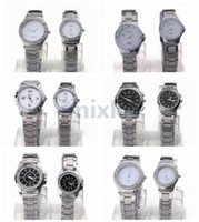 Wholesale 6style Option pair Fashion Elegant Couples Watch Men and Ladies Watches Stainless Steel Watches With Crystal High Quality