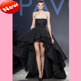 Wholesale 2013 Latest Strapless High Low Black Ruffle Floor Length Backless Party Dress Graduation Dress