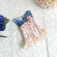 Wholesale HOT SALE baby girls denim hole dress with floral tutu lace ruffle skirts kids girls fashion summer Tulle dresses years