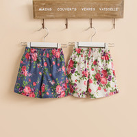 Wholesale 2016 New children girls flower short pants kid trousers with pocket white blue KZ83