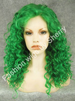 """Wholesale Long Curly Heavy Wig - 20"""" Long #T6138 Green Curly Heavy Density Heat Friendly Synthetic Hair Lace Front Costume Wig"""