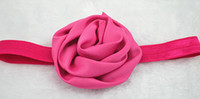 Flower foe - Trail order princess colors hot pink satin silk rose flower FOE headband kids beauty rosetted hairband hair accessories