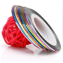 Wholesale 18 Colors Rolls Striping Tape Line Rolls Striping Tape Metallic Yarn Line Nail Art Decoration Sticker