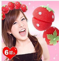 sponge hair curler ball - 900pcs EMS Strawberry Soft Sponge Hair Curler Roller Balls