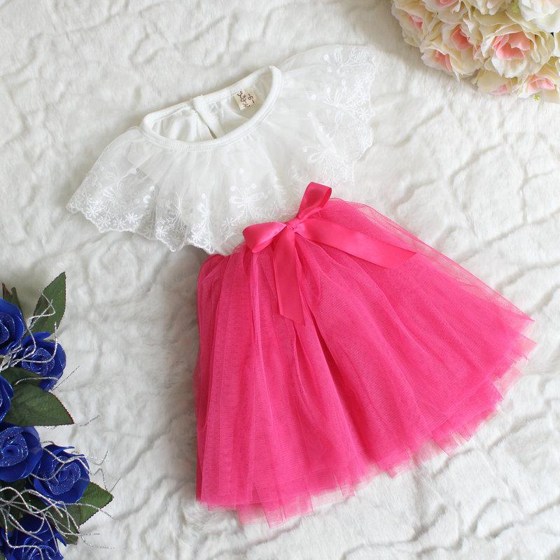 2015 Baby Girls Tulle Lace Dresses Kids Girl Bowknot