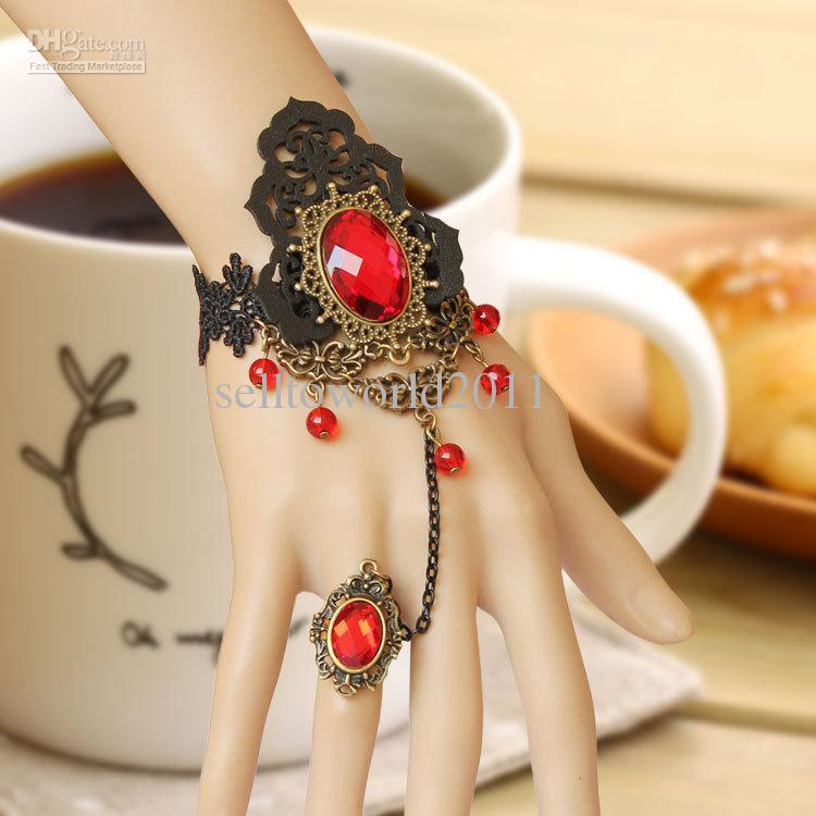 Jewelry Gothic Leather Gothic Jewelry Black Lace Red