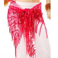 Wholesale New Womens Belly Dance Costume Sequins Triangle Scarf Belt Skirt Hip Wrap Stage Wear