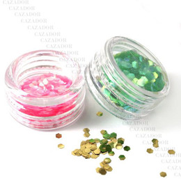 Wholesale The Colored Nail Art Hexagon Glitter Paillette Powder Spangles Decoration For UV Nail In Acrylic Box B31
