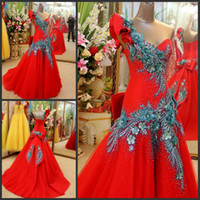 Wholesale Stock Luxurious Red One Shoulder Applique Beads Ball Gown Wedding Dresses Bridal Pageant Dress SZ XJ429072 Lace up
