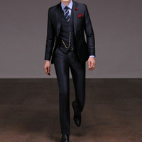 Wholesale custom made high quality piece navy blue men s suits wedding suits western wedding tuxedos