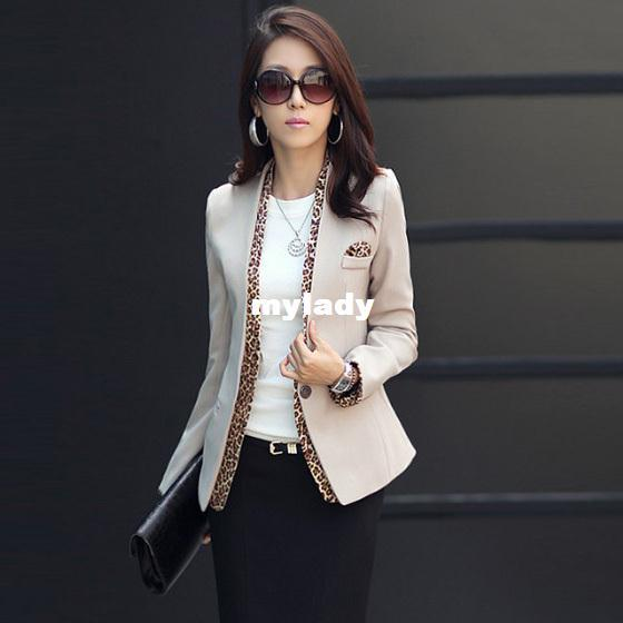 Women's Suit jacket One Button Leopard Print V Collar Bussines Coat