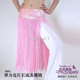 Wholesale Belly dance hip scarf apparel show fitted belt women wear costumes elastic tassels thrown new fashio