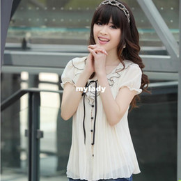 Wholesale Summer Women s Blooses Sweet Pleated o neck Laciness Chiffon Shirt Bow Short Slee