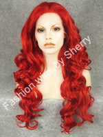 "African-American Wigs curly daily use 26"" Long #3100 Red Heavy Density Heat Friendly Fiber Front Lace Synthetic Hair Party Wig"