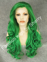 African-American Wigs green synthetic - 26 quot Long T6138 Green Heavy Density Heat Friendly Fiber Front Lace Synthetic Hair Party Wig