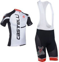 Wholesale 2013 NEW Castelli white bib short sleeve cycling jerseys wear clothes bicycle bike riding jerseys