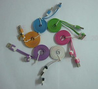 Wholesale 6X Flat Colorful USB Data Sync Cable Charger For iPod iPhone GS S iPad