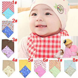 Wholesale Infant Toddler Reversible Bandit Bandana Dribble Baby Bibs Triangled Double Side Use Snap fastener
