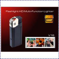Wholesale V18 P Hidden camera lighter with highlighted flashlight support TF card mini real lighter dvr lighter spy camera