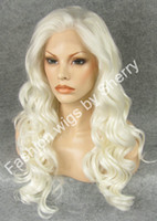 Wholesale Hot Sale S07 quot Long White Blonde Heavy Density Heat Resistant Synthetic Hair Lace Front Wig