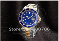 Wholesale 18K GOLD STEEL SUB BLUE DIAMOND DIAL Men s watches