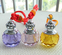 Wholesale 3ml Fashion Crystal Pendant with Essential Oil Glass Perfume Vials Cosmetic Jars Scent Bottle for Car Interior Accessories