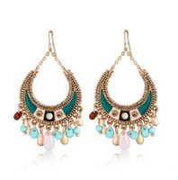 Wholesale New High Quality One Pair Colorful Women s Bohemian Elegant Acrylic Diamond Dangle Chandelier Earrings