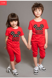 Wholesale Baby Boy Girl summer tracksuits Cartoon Mickey T shirt Haren pants set Cotton suits
