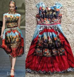 Wholesale Top Grade Brand Quality Digital Print Elegant Airy Runway Pure Silk Dress Women Plus Size XXXL