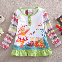 Wholesale F3000 Baby girls lovely in the night garden appliqued frill printed white t shirt dress cotton long sleeve tunic tops for Spring autumn
