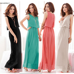 Wholesale Women Bohenmia Pleated Wave Lace Strap Princess Chiffon Maxi long dress Four Colours Adeal