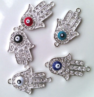 Wholesale 50PCS Silver Plated Crystal Sideways Evil Eye Hand Hamsa Bracelet Connectors Colors Bracelet Charms Cool Boy Jewelry DIY