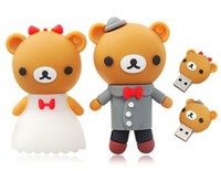 Wholesale Hot Sale Rilakkuma Bride and Bridegroom Cartoon Character U Disk Silicon Protection USB Flash Drives Memory