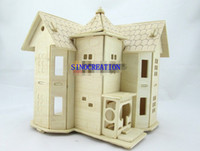 Wholesale Educational D Wooden Puzzles Toys DIY Country Castle Villa Novelty Woodencraft Construction Kit Toys For Children