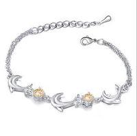 Wholesale Fashion Dolphin Anklet Czech Diamond Anklets Foot Bracelets Silver Anklets A003