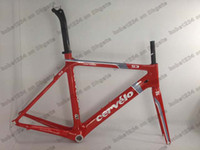 Wholesale Sales promotion red Cervelo S3 carbon road bike bicycle frame fork headset setpost carbon bike