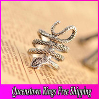 Wholesale Gold Sliver Color Ring For Women Retro Personality Punk Exaggerated Single Snake Ring Jewelry JZ096