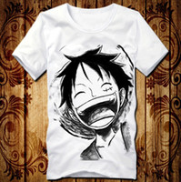 al por mayor camisa de una sola pieza luffy-Anime One Piece Ropa Luffy Riendo Traje Blanco T-shirt 7 Tipos