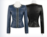 Women Waist_Length Leather 2013 HOT New Style Sexy Women's Ladies The chain decoration design motorcycle PU leather Jacket Coat Outerwear leather Clothing
