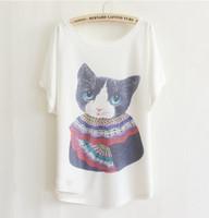Women Cotton Round Hot Sale Korean Shirt Cartoon Cat Cute Shirt Batwing Sleeve Korean Shirt Loose White Cotton Shirt Free Size G1-22
