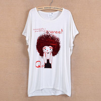 Women afro shirts - 2013 summer women s cartoon afro loose batwing shirt slim o neck short sleeve T shirt