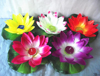 Wholesale 20 CM Wishing Lotus lamp Plastic lanterns floating water light with candle for Wedding